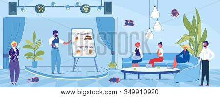 Presentation Successful Upselling Marketing Effort. Man In Business Suit Stands On Stage And Talks A
