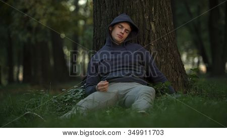 Vulnerable Alcoholic Sleeping Under Tree In Park, Careless And Crazy Youth