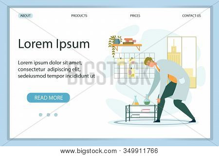 Flat Design Landing Page Presenting New Chemical Lab. Man Scientist, Chemist, Researcher Working Wit
