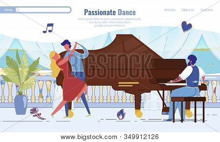 Passionate Dance Romantic Date Landing Page Trendy Design. Cartoon Man And Woman Performing Dance Pi