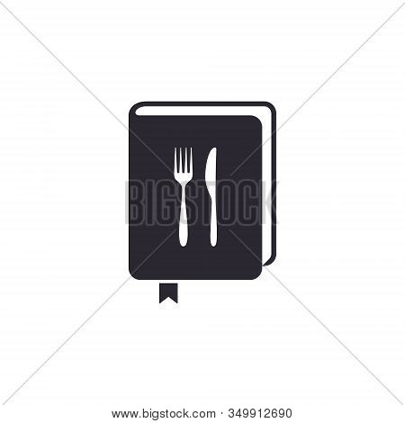 Cook Book Icon, Menu Or Recipe Book Sign, Vector Isolated Flat Design Illustration.
