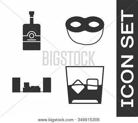 Set Glass Of Whiskey And Ice Cubes , Whiskey Bottle , Home Stereo With Two Speakers And Festive Mask