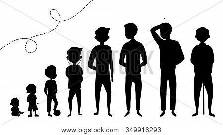 Collection Of Male Age Black Silhouettes. Development Of Men From The Child To The Elderly. Silhouet