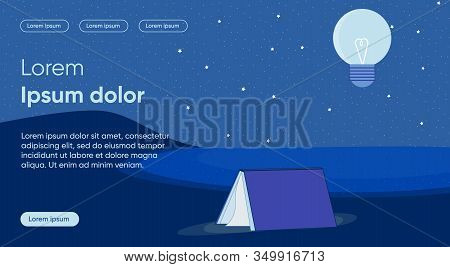 Night Reading Flat Landing Page Vector Template. Learning Is Light And Ignorance Is Darkness Metapho