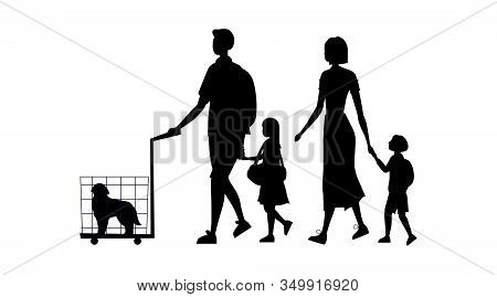 Black Silhouettes Of Family With Laggage, Dog In The Cage And Handbag Isolated On The White Backgrou