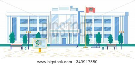 Modern Architecture University Or College Multi Storey House Facade. Contemporary Major Educational