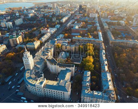 Voronezh Cityscape, Aerial View At Sunset. Tower Of Management Of South-east Railway And Annunciatio