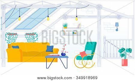 Attic Room Or Mansard Interior With Furniture And Ceiling Windows. Comfortably Trendy Furnished Hous