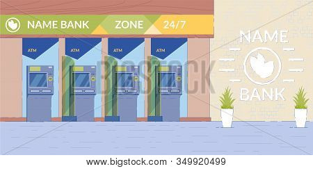 Atm Machine Hall Background With Equipment For Operations With Bank Deposit And Cash Withdrawal. Sel