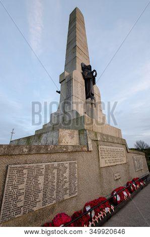 West Kirby, Uk: Jan 18, 2020: The Hoylake & West Kirby War Memorial Stands On Grange Hill. It Was De