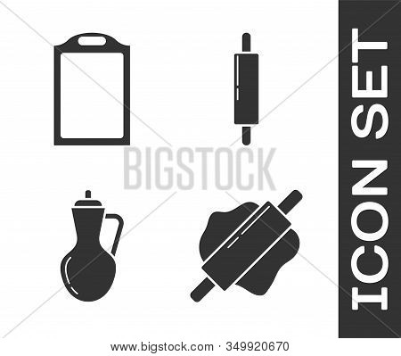Set Rolling Pin , Cutting Board , Bottle Of Olive Oil And Rolling Pin Icon. Vector
