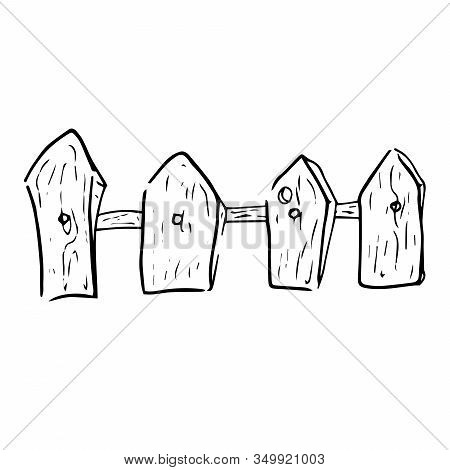 Wooden Fence Icon. Vector Illustration Of An Old Rustic Fence. Hand Drawn Old Fence.