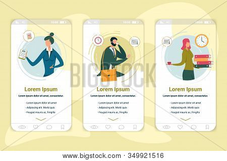 Company Employees Onboarding App Screen Template. Corporate Professions Website, Application Walkthr