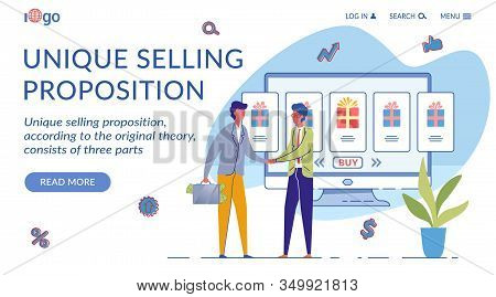 Unique Selling Proposition Landing Page Template. Usp Marketing Strategy Website Homepage Flat Vecto
