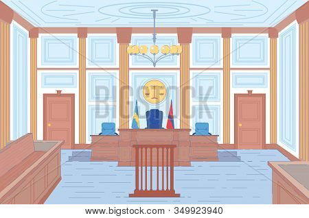 Courthouse Hall Or Trial Room Interior Background With Places For Judges And Wooden Tribune For Witn