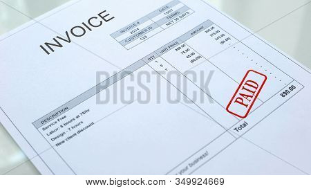 Paid Seal Stamped On Invoice Document, Business Bills, Accountancy Expense