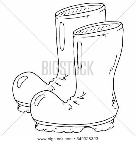 Garden Rubber Boots. Vector Illustration Of Rubber Boots. Spring Rubber Boots For Gardening.