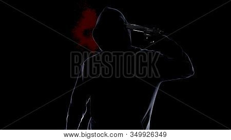 Hopeless Man In Hoodie Shooting Himself With Pistol, Bloody Suicide And Crime