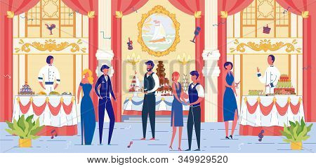 Luxury Banquet Event With Festively Dressed People Cartoon Characters. Solemn Ceremonial Dinner, Wed