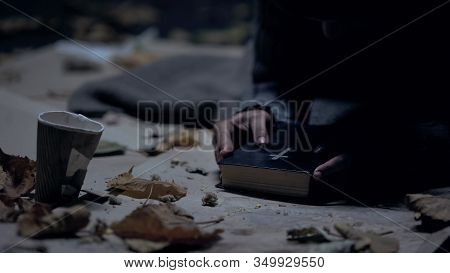 Miserable Vagabond Holding Bible And Praying To God, Strong Belief, Faith