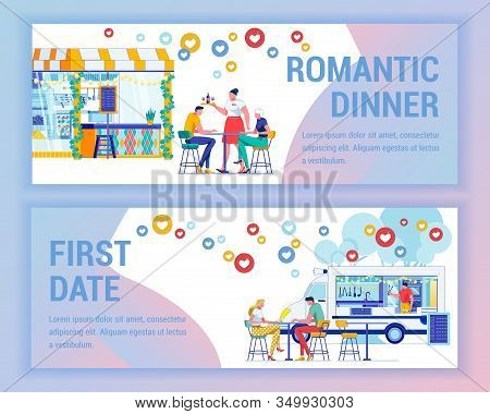 Romantic Dinner In Cafe And First Day At Foodtruck. On Columns Small, Cute Cafe, Green Ivy Winds. Ne
