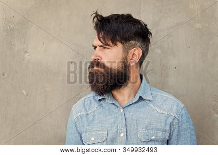 Seriousness Itself. Bearded Man. Mature Hipster With Beard. Male Facial Care. Male Barber Fashion Ca