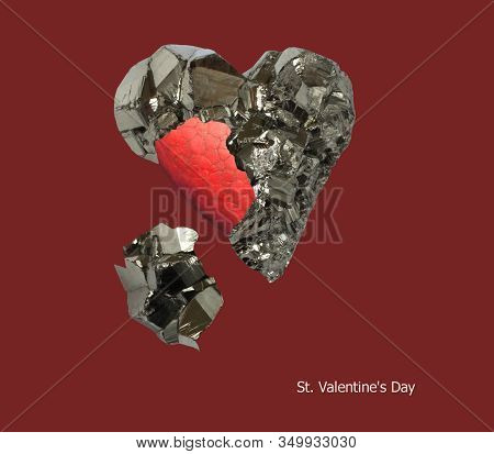 Mineral Pyrite In The Shape Of A Heart And Red Painted Heart Inside It On A Dark Red Background