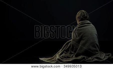 Lonely Homeless Kid In Plaid Sitting Alone In Dark Place, Orphan Backview
