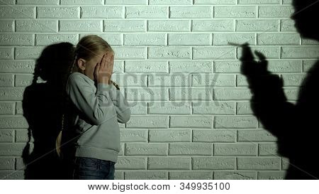 Frightened Kid Covering Eyes, Parent Shadow Smoking Cigarette, Drug Addiction