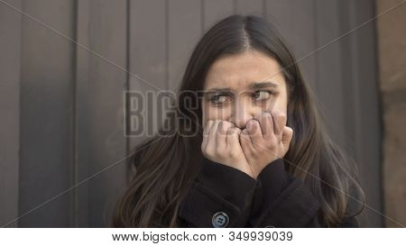 Girl Suddenly Feeling Uncontrolled Attack Of Fear In Street, Mental Disorders