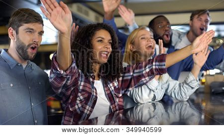 Young Sport Fans Cheering National Team Victory, Supporters Clapping Hands