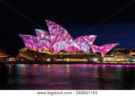 Sydney, Australia - June 03, 2014: Sydney Opera House With Laser Projection Art During Vivid Sydney