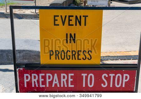 Melbourne, Australia - December 7, 2016: Warning Road Sign Advising To Prepare To Stop At St Kilda B