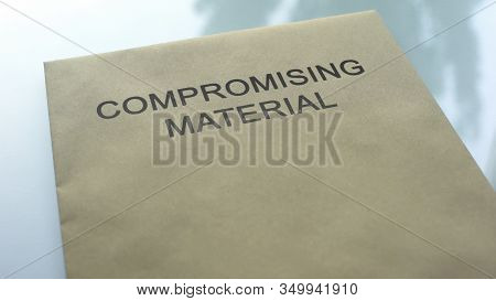 Compromising Material, Folder With Important Documents Lying On Table, Close Up