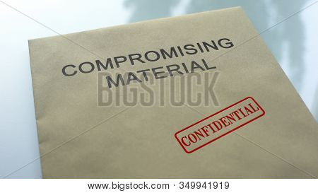 Compromising Material Confidential, Seal Stamped On Folder With Documents