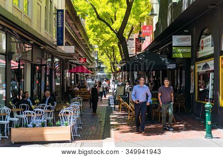 Melbourne, Australia - December 7, 2016: People Walking And Dining At Hardware Lane In Melbourne Cbd