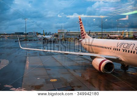 Sydney, Australia - December 7, 2016: Virgin Australia Air Craft On Parking Bay At The Kingsford Smi