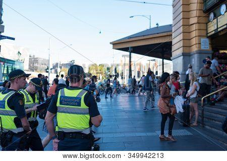 Melbourne, Australia - December 7, 2016: Police Officers On Duty Near Flinders Station In Melbourne