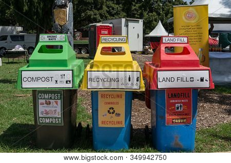 Sydney, Australia - January 26, 2020: Three Outdoor Rubbish Bins For Separating Different Kinds Of R