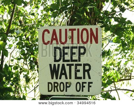 Deep Water Caution Sign