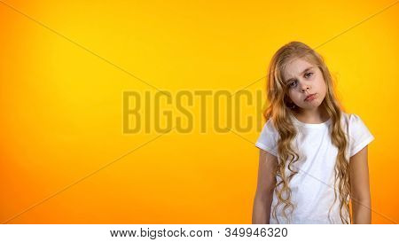 Adorable Blond Girl Feeling Exhausted After School, Lack Of Energy, Avitaminosis