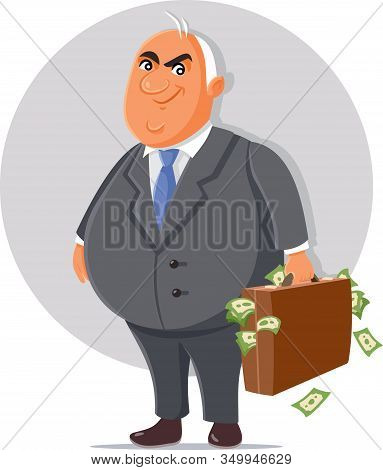Corrupt Politician With Briefcase Full Of Money Cartoon