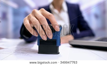 Business Woman Stamping Document Table, Director Approving Contract, Paperwork