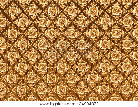 Golden Flower Pattern with Dark Brown Background Textures
