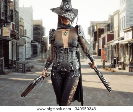 Female Cowgirl Gunslinger Walking Through The Center Of A Western Town With Duel Sawed Off Shotguns.