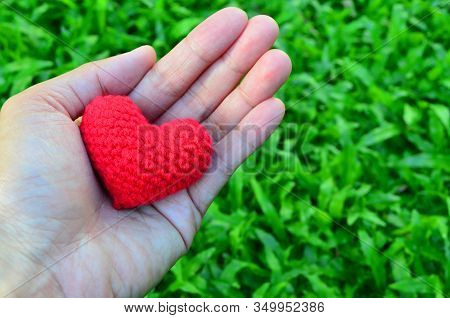 Asian Woman Hand Hold Red Crochet Heart Over Green  Grass - Valentine Concept