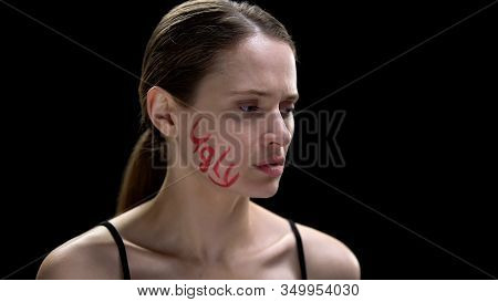 Woman Showing Cheek With Ugly Inscription, Suppression Of Human Personality