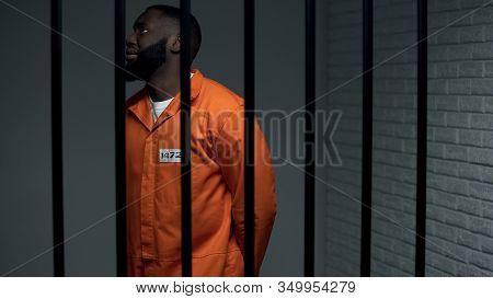 Nervous Black Prisoner Waiting Sentence In Solitary Cell, Convicted Criminal