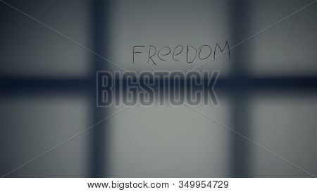 Prison Bars Shadow On Cell Wall, Serving Life Imprisonment, Depression, Template