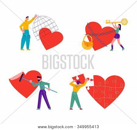 Metaphor Of Love, Locked Heart, Betrayal And Relationship. Man Or Woman Is Breaking Heart And Save L